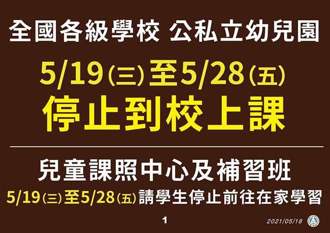 全國各級學校明起停課到28日。(指揮中心提供)