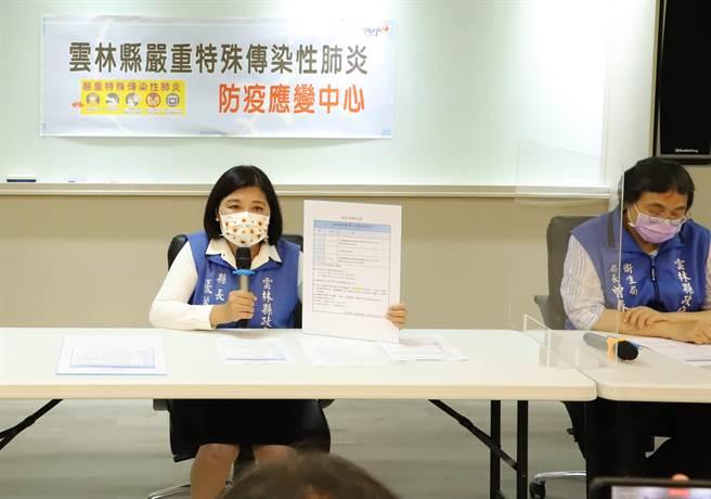 雲林縣長張麗善(左)、衛生局長曾春美(右)今下午3點於中央流行疫情指揮中心公布確診案例後,舉行記者會公布雲林縣的確診案例2149。(周麗蘭傳真)