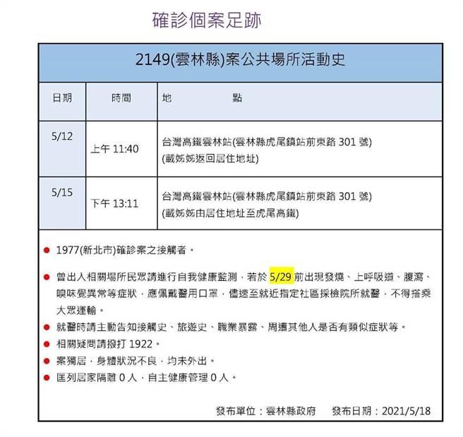 雲林縣衛生局公布2149接觸史。(周麗蘭攝)