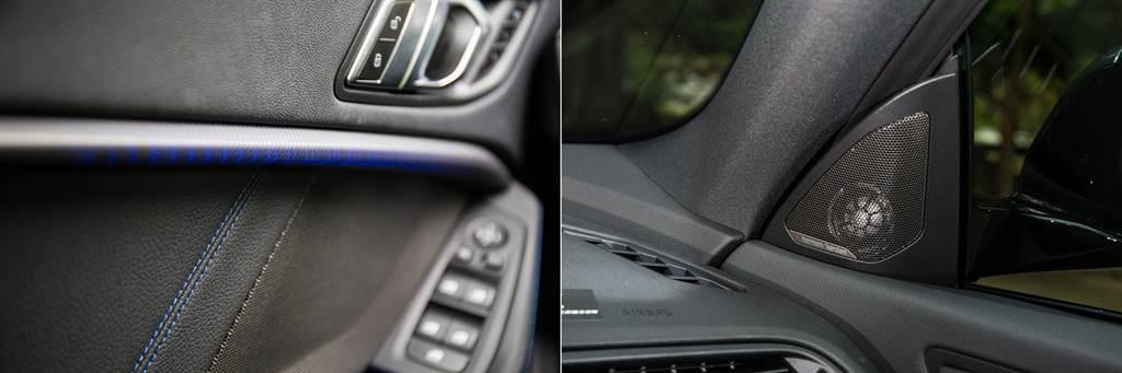 門板上的Boston光影飾板是2GC的特色之一,搭配環艙氣氛燈帶來年輕氣息,220i更將其他車型要價5.4萬元的Harman/Kardon音響列為標配。