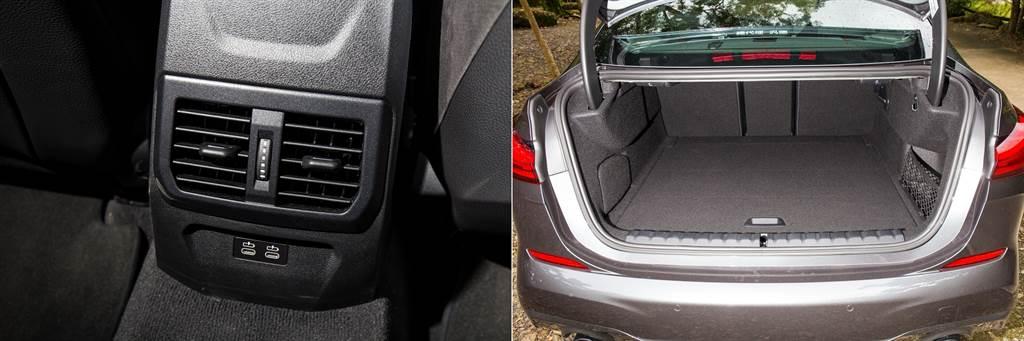 後座除了出風口外也提供兩組USB-C充電口,而行李廂空間則有430L,並可藉由4/2/4椅背傾倒來增加空間。
