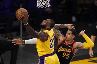 NBA》詹姆斯關鍵三分球 湖人逆斬勇士搶季後賽門票