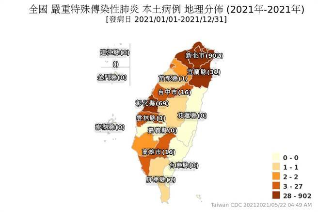屏東縣、南投縣破功,台灣西部只剩嘉義死守淨土,最新確診地圖曝光。(圖/翻攝自疾管署)