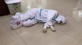 網傳疑東南亞醫護防護衣下「全身泡汗水」 雙手皺腫躺地睡揪心照