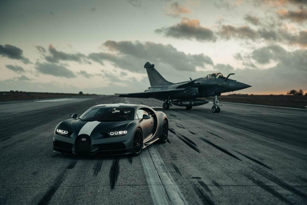 進一步探求極限? Bugatti Chiron Sport 'Les Légendes du Ciel' 挑戰 Dassault Rafale 戰鬥機