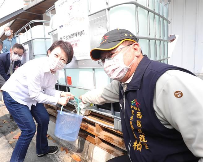 台中市長盧秀燕針對水情吃緊,感謝各工地建案提供地下水給產業及民生取水使用,善盡社會企業責任。(盧金足攝)