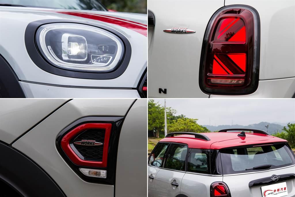 小改款後最顯而易見的改變就在車尾換上英國米字旗LED尾燈,頭燈則是將日行燈與方向燈整合在一起,除此之外,由於試駕車外觀選配黑色高光澤處理的關係,在車身多處均有高亮黑色塗裝。