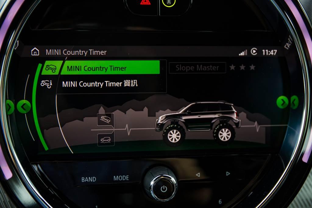 在中控螢幕中還會紀錄Countryman「下鄉」的時間,不過這可是性能版的JCW,除了拉力賽道,山路更適合它施展身手。