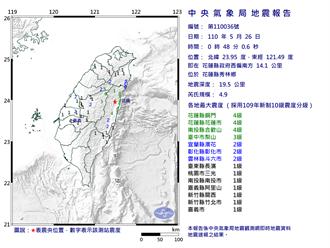 花蓮凌晨芮氏規模4.9地震  花蓮市區、合歡山震度4級