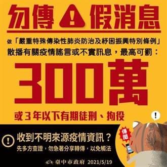 網傳台中設「方艙醫院」 中市府:散播謠言最高可罰300萬