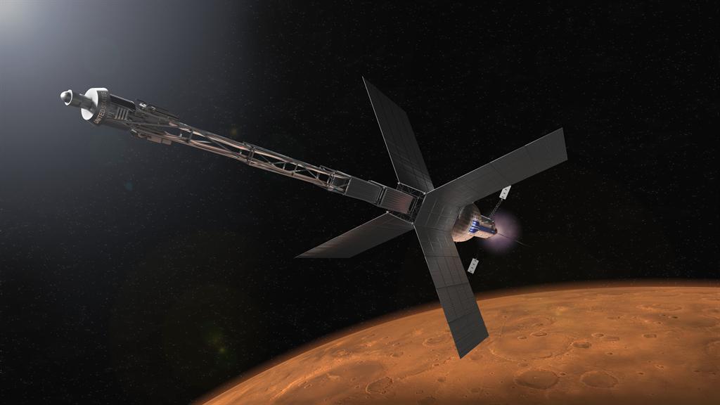 美俄都提出核动力太空船。图为美国的火星核能太空船概念图。图/NASA(photo:ChinaTimes)