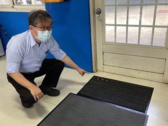 防疫消毒「足」跡 中市環保局車站設2.0版鞋底消毒毯