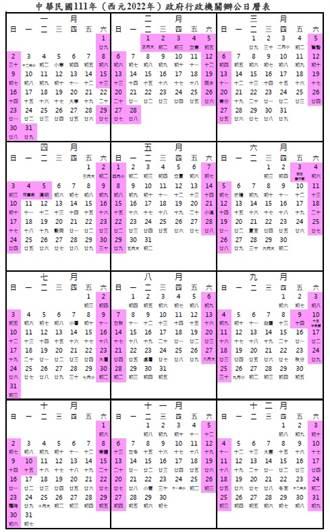 行政院公布2022年行事曆 農曆年假放9天 3天以上連假有7個
