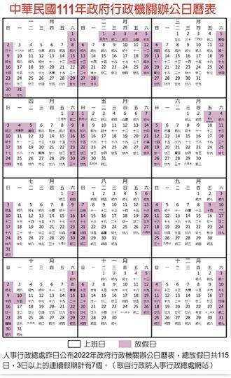 明年過年放9天 逾3天連假有7個
