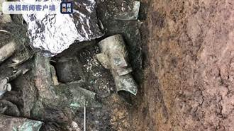 三星堆3號坑 成功出土一件青銅人頭像