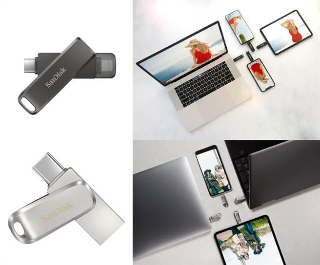 SanDisk iXpand Luxe 隨身碟(左上)、SanDisk Ultra Luxe USB Type-C(左下)與使用情境。(WD提供/黃慧雯台北傳真)