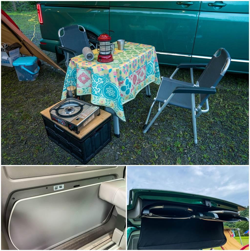 桌椅隨車附贈,輕鬆展開車邊帳,在任何地點都能悠閒午茶。