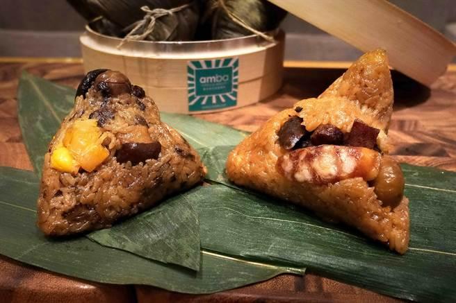 意舍酒店的客家廣式鮮粽禮盒內亦有〈干貝梅干扣肉粽〉(左),蒸熟的糯米中亦吃得出梅干菜汁味道。(圖/意舍酒店)
