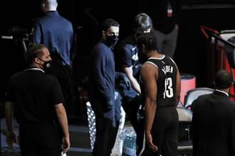 NBA》才打43秒!籃網哈登右大腿拉傷直接退場
