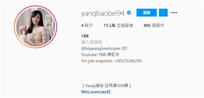 楊寶貝的IG頁面出現SWAG的連結。(圖/IG@yangbaobei94)