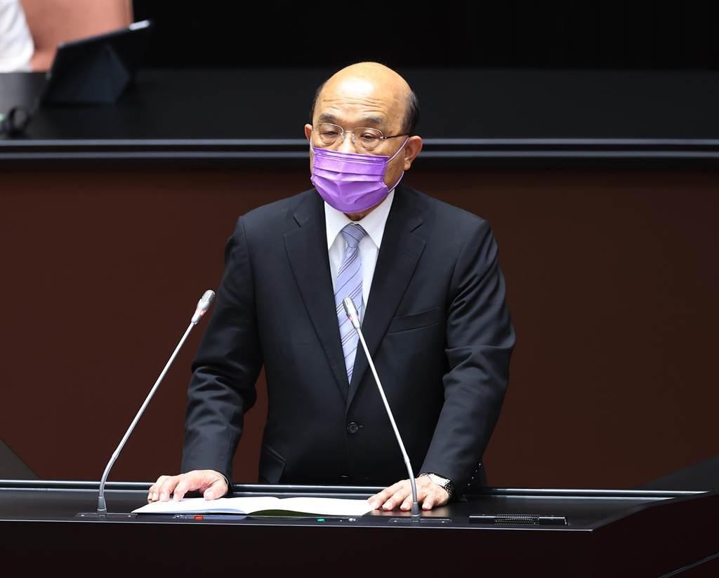 行政院長蘇貞昌8日赴立法院報告紓困特別預算、疫苗採購狀況及施打計畫。(台北市攝影記者聯誼會提供)