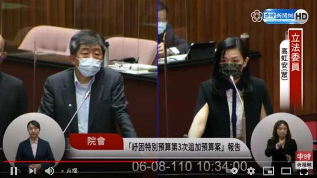 民眾黨立委高虹安(右)質詢衛福部長陳時中。(圖/立法院直播畫面)