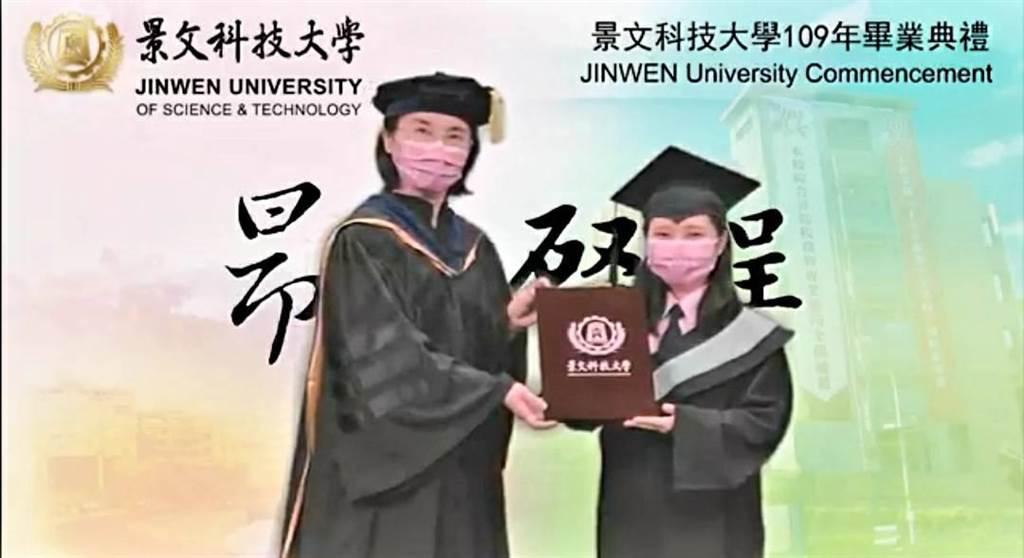 景文科技大學取消返校畢業典禮,於6月6日將109學年度畢業典禮,改採預錄影片線上播出方式辦理。(景文科大提供)