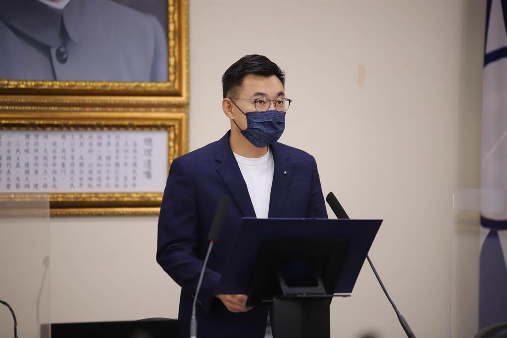 國民黨主席江啟臣今主持視訊中常會。(國民黨提供)