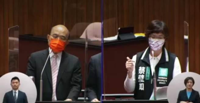 台灣染疫死亡人數突破三百人,行政院長蘇貞昌今在立法院仍大讚陳時中的防疫做得很好,民眾黨立委蔡壁如痛批把死亡當成理所當然,太冷血。(翻攝立法院視訊直播)