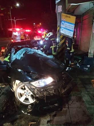 BMW過彎失速自撞 駕駛夾車內2小時從清醒漸無呼吸身亡