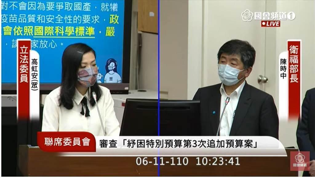 高虹安(左)和陳時中(右)。(圖片摘自國會頻道Youtube)