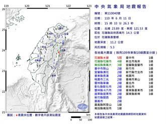花蓮3小時連5震 氣象局:未來兩周不排除有規模4.0的地震