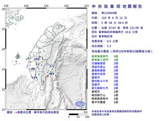 地牛翻身!清晨台東05:58有感地震 規模5.3最大震度4級