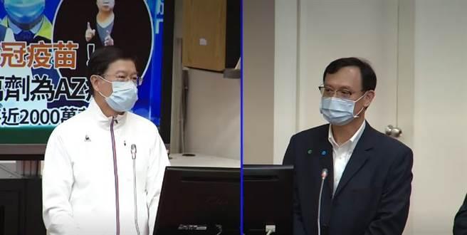 石崇良(右)稱疫情破口主要在萬華散播開來。(取自立法院)