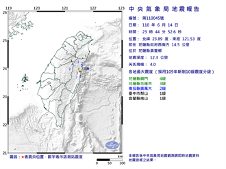 花蓮深夜發生規模4.0地震 最大震度4級