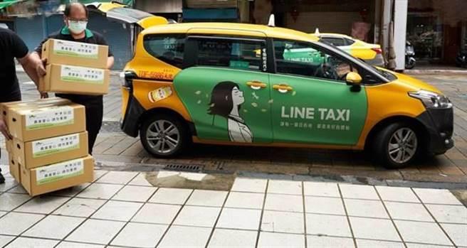 (LINE購物協助夥伴串連LINE TAXI運送,雙北用戶下單成功後、隔日便能收到「農產百寶箱」。圖/LINE提供)