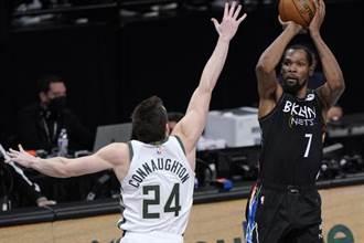 NBA》打滿48分鐘 杜蘭特大三元率籃網逆襲公鹿聽牌
