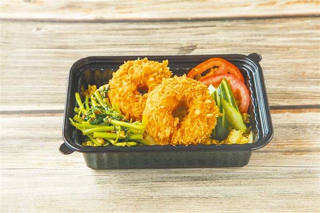 SOGO忠孝館外帶自取餐點,nara thai泰國御廚餐盒-金錢蝦餅,180元。(SOGO提供)