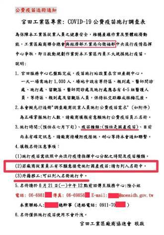 多工業區被要求造冊打國產疫苗 洪孟楷轟經濟部:是誰下令?