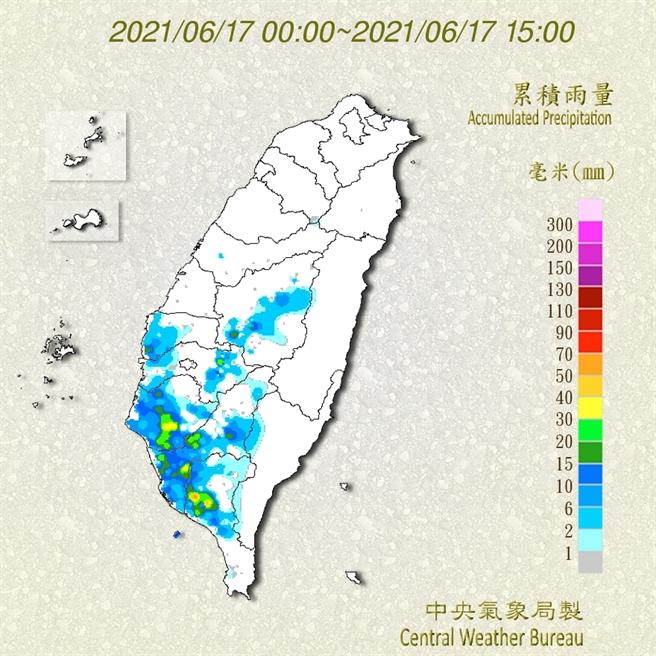 中央氣象局發布大雨特報,對流雲系發展旺盛,易有短延時強降雨,今(17)日南投以南山區及南部地區雨量最多。(圖/氣象局)