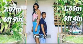 巴西女模患巨人症長至207公分 丈夫身高只到她胸部