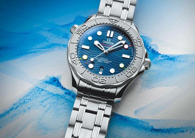 歐米茄海馬潛水300米「北京2022」冬季奧運腕表,不鏽鋼表殼配鈦金屬表圈,20萬2000元。(OMEGA提供)