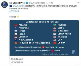 台被歐盟列安全旅遊名單 官方推特將大陸與台灣並列