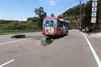 車速過快騎到對向車道 台三線重機撞轎車後再擦撞公車