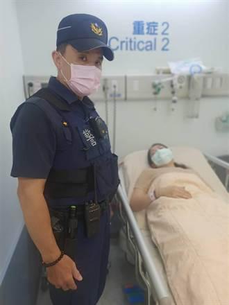 妻子喘不過氣 夫半路攔警車送醫救命