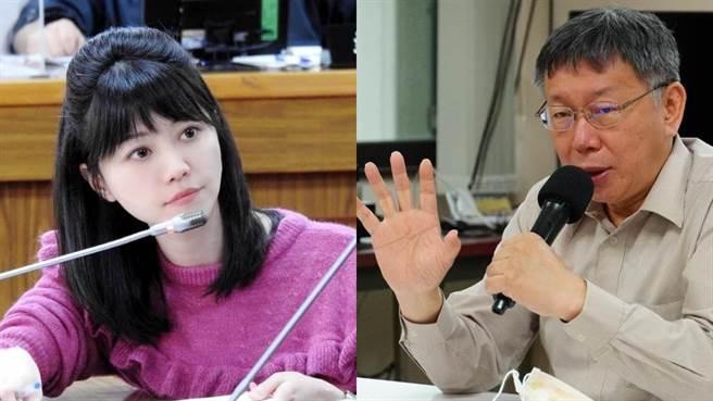 民進黨立委高嘉瑜(左)、台北市長柯文哲(右)。(組圖/高嘉瑜臉書_左、中時資料庫_右)