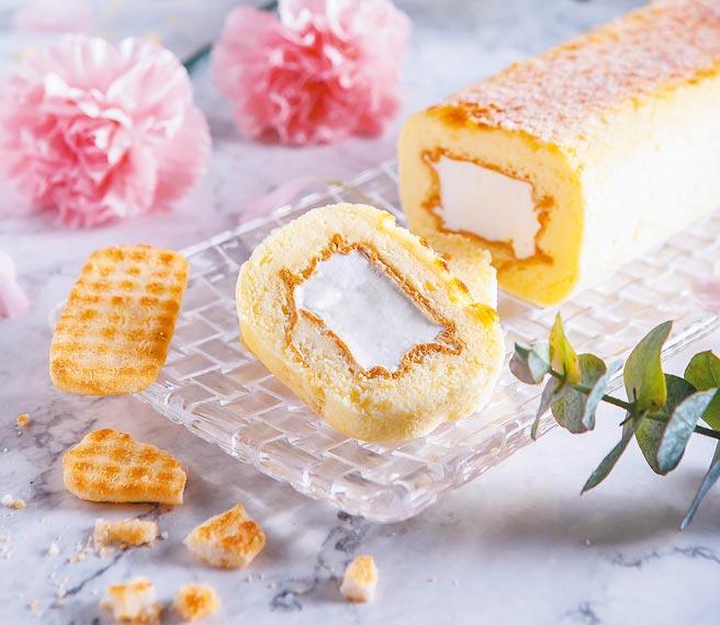 神旺大飯店普諾麵包坊的「仙貝舒芙蕾生乳捲」為人氣商品。(神旺大飯店提供)