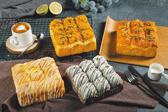 天成飯店集團旗下花比麵包坊推出的「台丸手撕包」有4種口味。(天成飯店集團提供)