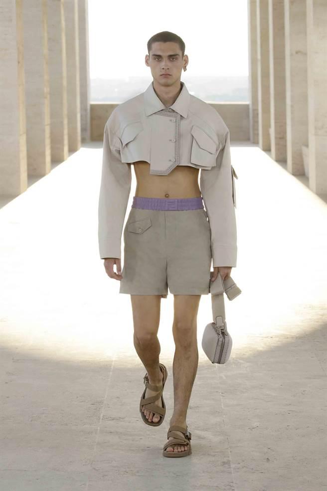 ENDI 2022年春夏男裝系列,半截式輪廓超吸睛。(FENDI提供)