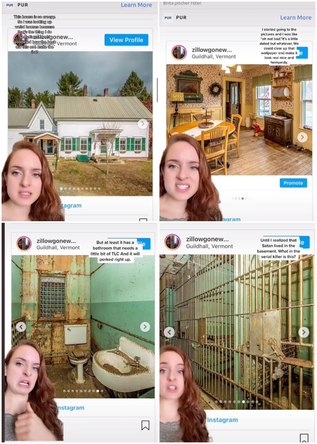 女網友在網路上發現一棟外表平凡地下室卻藏有整排監獄的房子。(圖/TikTok@angelikaisanerd)